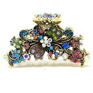 New woman&girl Crystal flowers metal hair claws clips pins Prom hair Accessories