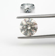 DIAMOND RING ROUND 2 1/2 CARATS VVS2 F SOLITAIRE & ACCENTS 14K WHITE GOLD ESTATE