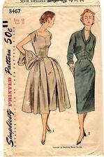 "Vintage 1950s Simplicity Sewing Pattern Women's DRESS JACKET 8467 Sz 12 Bust 30"""