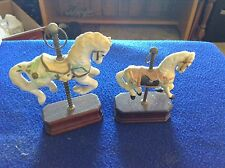 2 Small Carousel Horses on Wood Bases
