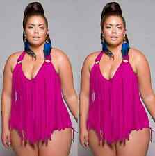 Plus Size Womens Push-up Bikini High Waisted Swimwear Swimsuit Monokini Bathing