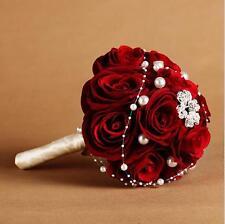 Red Rose Wedding Bouquet Handmade Bridal Brooch Crystal Pearl Bridesmaid Flower