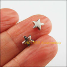 70Pcs Tibetan Silver Tone Tiny Smooth Star Charms Spacer Beads 6.5mm