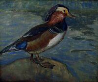 Danish artist, dated 1918 Mandarin duck, oil on canvas.