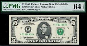 1995 $5 Philadelphia Federal Reserve Note FRN • 1984-C • PMG 64 EPQ