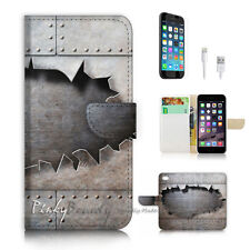 ( For iPhone 7 Plus ) Wallet Case Cover P2350 Iron Wall