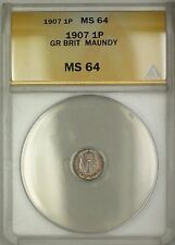 1907 Great Britain King Edward VII Maundy 1P Penny Silver Coin ANACS MS-64