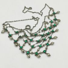 VINTAGE SOLID STERLING SILVER PEARL AND EMERALD ART DECO LADIES NECKLACE CHAIN