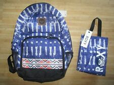 NEW ROXY BACKPACK BOOK SCHOOL STUDENT Laptop Tablet Pouch LUNCH BAG Tribal Aztec