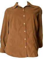 Eddie Bauer Women's Light Brown Corduroy Button Up LS Shirt Top Plus Size 4X NWT