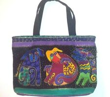 Laurel Burch Handbag Dogs and Doggies Purse Small Zippered Tote Colorful Canine