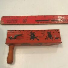 Rare Old Vintage Halloween Tin Three Sided Ratchet Noisemaker Germany 1930's