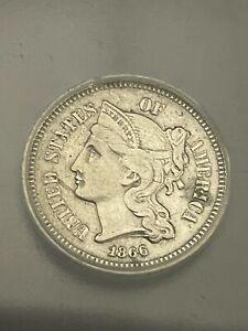 1866 3 CENT NICKEL   ICG GRADED AU 50 DETAILS POLISHED