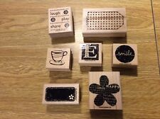 Stampin' Up! Wooden Rubber Stamps Mixed Set of 7 Tags Tea Coffee Cup Smile