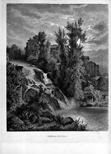 Stampa antica ISOLA DEL LIRI veduta della cascate Frosinone 1880 Old Print