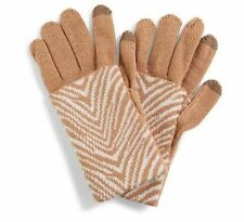 New VERA BRADLEY ZEBRA Intarsia COZY KNIT Tech Gloves Soft Tan Cream NWT $34