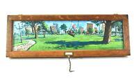 vintage cartoon oil painting on wood boy swinging in city park illustration art