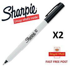 SHARPIE ULTRA FINE TIP POINT BLACK PERMANENT MARKER GENUINE UK STOCK 2 PACK