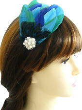 Feather Fascinator Headband Peacock  Accent  Diamante & Faux Pearl Vintage Style