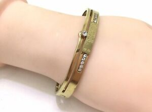 "Michael Kors Gold Pave CZ Hinged Bangle Bracelet, 6.5""/16.5cm RRP £80"