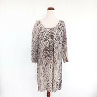 Witchery Size 10 Grey White 100% Silk 3/4 Sleeve Lightweight Shift Dress Women's