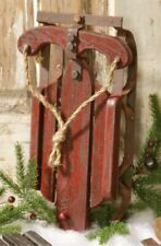 NEW!! Country Rustic  Distressed Decorative Sled Red Christmas Decor
