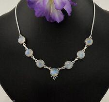 Echte Edelstein-Halsketten & -Anhänger im Collier-Stil aus Sterlingsilber mit Mondstein