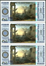 MATCHED SET OF 3 POLYMER 10 MILLION EURO 2015 HARBOR FANTASY ART CONCEPT NOTES!