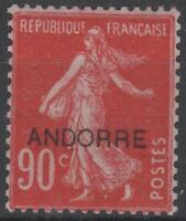 """ANDORRE FRANCAIS STAMP TIMBRE N° 12 """" SEMEUSE FOND PLEIN 90c ROUGE"""" NEUF xx LUXE"""