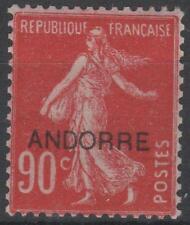 "ANDORRE FRANCAIS TIMBRE N° 12 "" SEMEUSE FOND PLEIN 90c ROUGE "" NEUF xx TTB K640"