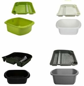 PLASTIC WASHING UP BOWL BASIN AND LARGE DISH DRAINER RACK KITCHEN PLATE HOLDER