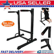 NEW 660lbs Dip Station Machine Self Standing Dip Bar Stand Bicep Tricep Exercise