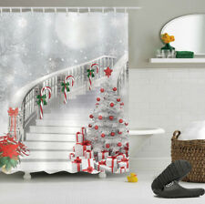 """Christmas Tree Gift Candy Cane Stairs Polyester Fabric Shower Curtain Set 72x72"""""""