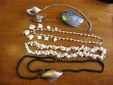 Lot of Artisan Shell Necklaces, Pendants & 1 Slider, Abalone, Fusi Conch, Oyster