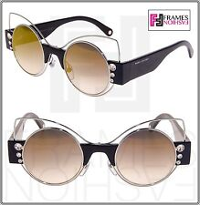 a54e6d4380d Marc Jacobs Marc 1 Black Silver Round Gold Mirrored Crystal Stud Sunglasses