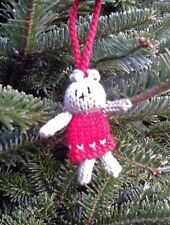 Hand Knitted Teddy Bear Christmas Tree Decoration (Red)