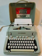 VTG 1969 Hermes 3000 Seafoam Portable Typewriter w/ Original Case, Manual, Brush