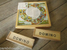 Lot 3 Jeux en Bois : 2 Jeux de Dominos - 1 Mallette de 4 Jeux - Neuf