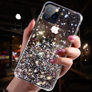 Bling Glitter Case For iPhone XR 6 7 8 11 XS 12 MAX Clear Gel Soft Phone Cover