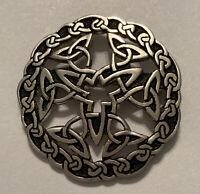 Vtg ST JUSTIN Pewter Celtic Knot Round Design Pin Brooch Scottish Badge