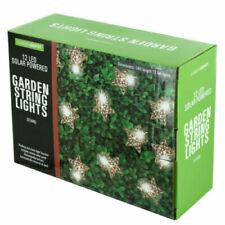 12 Silver Star LED Solar String Fairy Lights Garden Festive Christmas NEW