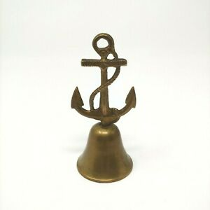 "Vintage Brass Bell India Anchor Rope Dinner 5.5"" Nautical Decor Ship Sailing"
