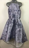 BNWT WOMENS CHIC HI PURPLE FLORAL FLARED OCCASION PROM DRESS UK 14 RRP £64.99