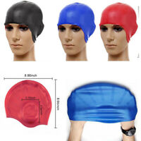 Swimming Cap With Ear Pockets Long Hair Large Men Women Silicone Hat Applied