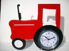 Red Tractor with Alarm Clock w/Battery,Mostly Wood, Hand Made, Home Office/Study