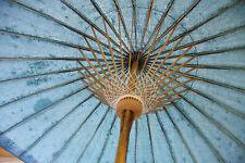 Original balinesischer Sonnenschirm, Farbe: Grün / Blau, kleine Größe, VINTAGE