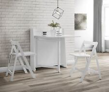 Julian Bowen Helsinki Space Saving Compact Fold Down White Wood Table & 2 Chairs