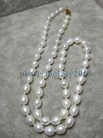 """AAA 5-6mm Natural south sea baroque white pearl necklace 18"""" 14K GOLD"""