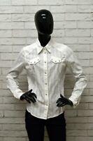 Camicia LEVIS Donna Taglia Size L Maglia Chemise Shirt Woman Cotone Bianco Slim