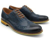 *577 BRAND NEW MEN'S NAVY BLUE LEATHER LACE UP SEMI BROGUE SHOES UK 7 / EU 41